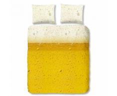 Muller Textiles - Parure de lit VERRE DE BIERE Jaune 240x220 cm - Linge de lit
