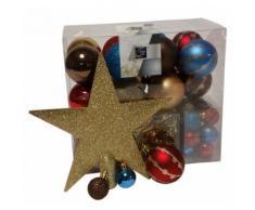 Kit 44 pièces pour décoration sapin : guirlandes, boules et cimier - Objet à poser