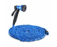 Waldbeck Water Wizard 15 Tuyau d'arrosage réglable 8 fonctions 15 m - bleu - Accessoires d'arrosage