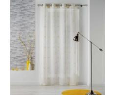 Panneau a oeillets 140 x 240 cm voile sable brode thales Blanc/Jaune - Rideaux et stores