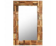 Miroir Mural Bois de Récupération Massif pour Salle de Bain, Chambre à Coucher ou Dressing 60 x 90 cm - Objet à poser