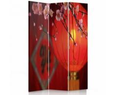 Feeby Paravent d'intérieur sur toile décoratif, 3 parties 2 faces, Lampion japonais 110x180 cm - Objet à poser