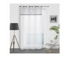 SOLEIL DOCRE Voilage a oeillets Esprit Famille 100% Coton 135x250 cm - Blanc - Rideaux et stores