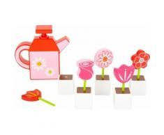 Set de fleurs avec arrosoir en bois - 12048 - Jeux d'éveil