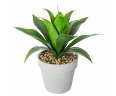 Plante artificielle en ciment et plastique, gris - Dim : L.28 x l.28 x H.34 cm -PEGANE- - Plantes artificielles