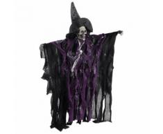 Lifelike Halloween Skeleton Decoration Props Scary Hanging Sound Control Ornament (Purple) - Autres