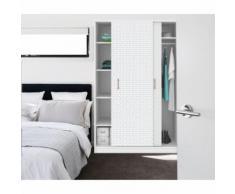 Sticker pour porte de dressing scandi Home - L. 67 x l. 250 cm - Blanc - Décoration murale