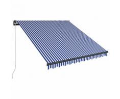 Auvent manuel rétractable avec LED 300x250 cm Bleu et blanc - Matériel de construction toiture