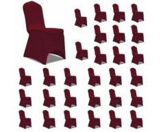 vidaXL Housses élastiques de chaise Bordeaux 30 pcs - Textile séjour