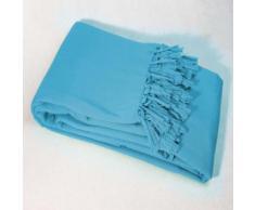 Jete de canape a franges 220 x 240 cm coton tisse lana Turquoise - Rideaux et stores