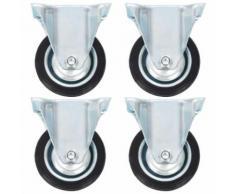 vidaXL 4x Roulettes Pivotantes avec Double Frein Roulette de Mobilier Roulette de Meuble Chariot Roulant Etagère à Livre Bibliothèque Panier d'Achat Capacité 70 kg 100 mm - Accessoires pour meubles