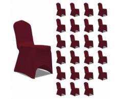 vidaXL Housses élastiques de chaise Bordeaux 24 pcs - Textile séjour
