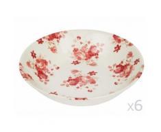 Assiette creuse en faïence D20cm motif floral bordeaux et blanc - Lot de 6 LILY ROSE - vaisselle