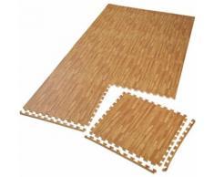 TECTAKE Tapis de Sol de Gym Sport avec 8 Dalles de Protection en Mousse 61 cm x 61 cm Marron - Gymnastique