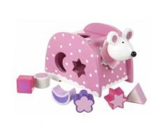 Souris rose boite a formes en bois avec 6 blocs - trieur animal - jouet bebe 12 mois - Encastrement