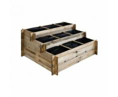 Carré potager à étages en bois traité 120 x 100 cm - Jardinières et bacs
