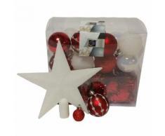Kit de 44 décorations pour sapin - Rouge et blanc - Guirlandes, boules et cimier - Objet à poser