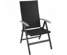 TECTAKE Chaise de Jardin Pliante Réglable en Aluminium et Résine Tressée 68 cm x 58 cm x 107,5 cm Noir - Mobilier de Jardin