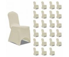 vidaXL Housses élastiques de chaise Crème 24 pcs - Textile séjour