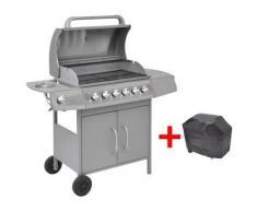 vidaXL barbecue grill à gaz 6+1 foyers argenté - Gaziniere