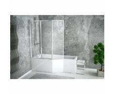 Baignoire asymétrique INTEGRA 150/170 cm x 75 cm + pare baignoire - Angle: Gauche - Dimensions: 150cm - Installations salles de bain