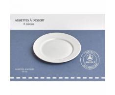 Lot de 6 assiettes à dessert 19 cm en porcelaine blanc SERENITY Qualité Pro - vaisselle