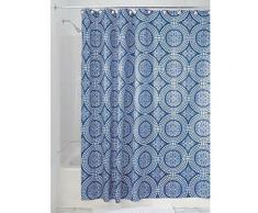Interdesign 41320eu rideau de douche médaillon polyester blanc/bleu encre 180 x 180 cm - Rideaux enfant