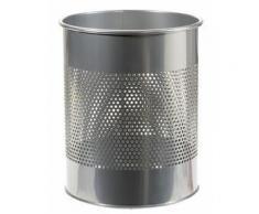 Corbeille à papiers acier perforé finition laqué, 15 litres gris alu - Corbeille, bac à courrier, poubelle