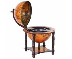 Globe terrestre, bar de salon HWC-T874, minibar, bois d'eucalyptus - Accessoire cave à vin