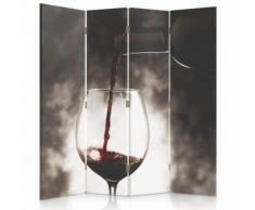 Feeby Paravent pivotant Diviseur Séparateur de pièce déco 4 parties, Verre de vin 145x150 cm - Objet à poser