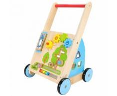 Chariot de Marche, Poussette en Bois Jeux Ludiques 45 X 33 X 53 cm Roues antidérapant Trotteur intérieur & extérieur, CE - Jouets à tirer ou à pousser en bois