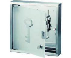 Zeller 13890 armoire à clés en acier inoxydable/verre, 30 x 6 x 30 cm - Armoire bébé