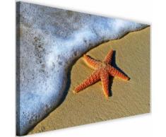 Image Tableau moderne sur toile Cadre déco Canevas Mer Plage Etoile orange 90x60 - Décoration murale