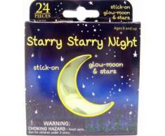 Stickers autocollants muraux et plafonniers brillent dans le noir glow in the dark - Lune et étoiles - Décoration murale