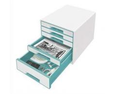 Bloc de classement 5 tiroirs, blanc laqué et tiroirs - WOW menthe - L29 x H36 x P 37 cm - Boîte de classement
