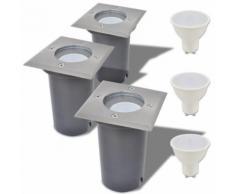 Lampe LED encastrable au sol d'extérieur 3 pièces Carré - Lampes