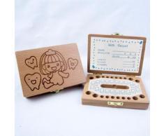 Enfants Garçon et fille Tooth Boîte de rangement en bois Organisateur bébé Save Milk Teeth Collectionner Kiliaadk606 - Boite de rangement