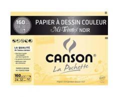 Pochette de 12 feuilles Canson Mi-teintes Noir - Boîte de classement