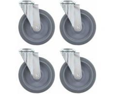 vidaXL 4x Roulettes Pivotantes à Trou de Boulon Chariot Roulant Roulette de Mobilier Meuble Etagère à Livre Capacité de 45 kg 75 mm - Accessoires pour meubles