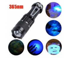 Zoomable Led UV lampe torche lumière 365nm Ultra Violet Blacklight Batterie AA - Torches