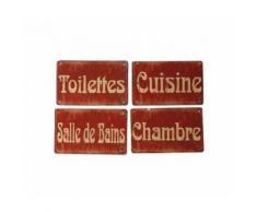Set de 4 Plaques de Porte Métal Rouge Toilettes, Chambre, Salle de Bain, Cuisine - Décoration murale