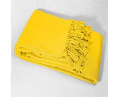 Jete de canape a franges 220 x 240 cm coton tisse lana Jaune - Textile séjour