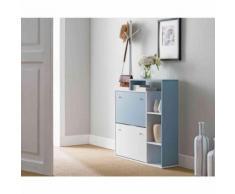 Meuble à chaussures 2 tiroirs en bois blanc et bleu - MC4030 - Meubles à chaussures