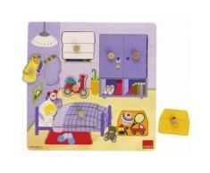 Puzzle eveil bebe 7 pieces boutons - objets chambre d'enfant - encastrement bois - Autre Puzzle