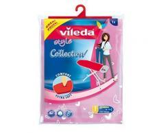 Vileda 142470 housse de planche à repasser en coton avec tissu éponge et élastiques vert/rose 135 x 50 cm - Fer a repasser