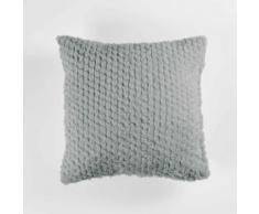 So coussin 40 x 40 cm imitation fourrure banquise Gris - Textile séjour