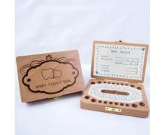 Enfants Garçon et fille Tooth Boîte de rangement en bois Organisateur bébé Save Milk Teeth Collectionner Kiliaadk607 - Boite de rangement