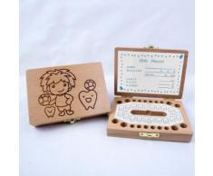 Enfants Garçon et fille Tooth Boîte de rangement en bois Organisateur bébé Save Milk Teeth Collectionner Kiliaadk605 - Boite de rangement