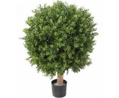 Plante artificielle haute gamme Spécial extérieur / Buis boule UV artificiel,coloris vert - Dim : H.100 x D.82 cm - Plantes artificielles