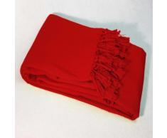 Jete de canape a franges 220 x 240 cm coton tisse lana Rouge - Rideaux et stores